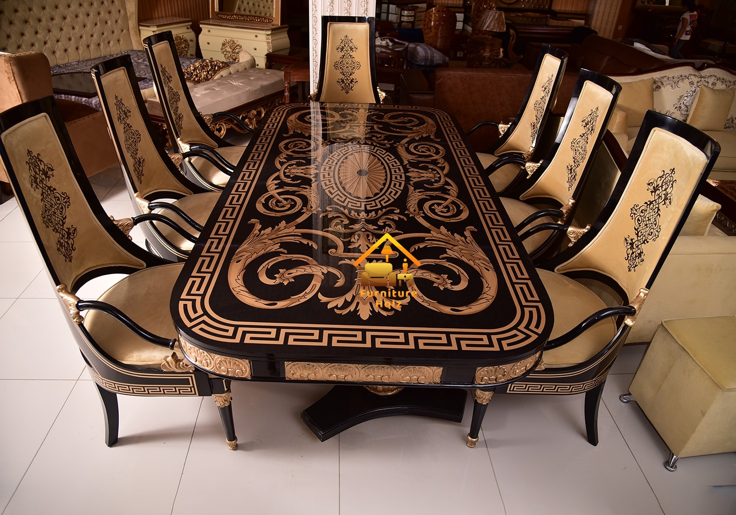 Black Golden 8 Chairs Solid Acacia, Fancy Dining Room Sets